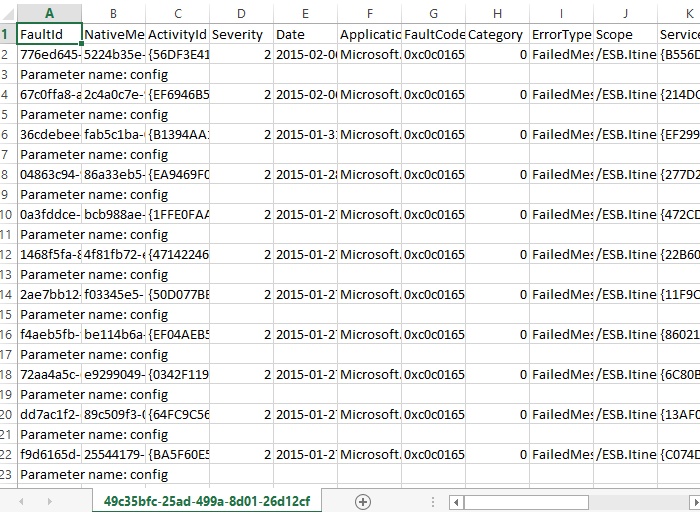 esb exception queries excel sheet