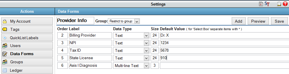 Build A Data Form For Users To Add NPI And License Number  Ledger Form