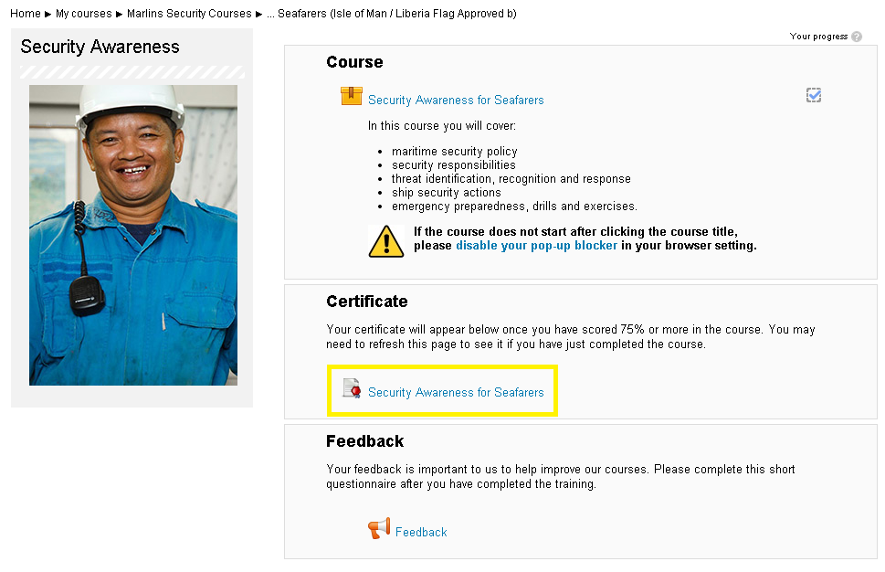 I have finished my course  How do I print my certificate