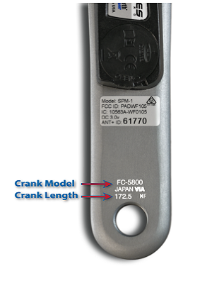Crank arm engraved with FC-5800 and 172.5, indicating crank model and length
