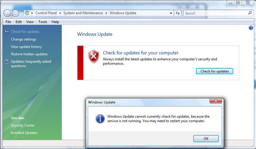 Windows Update cannot currently check for updates because