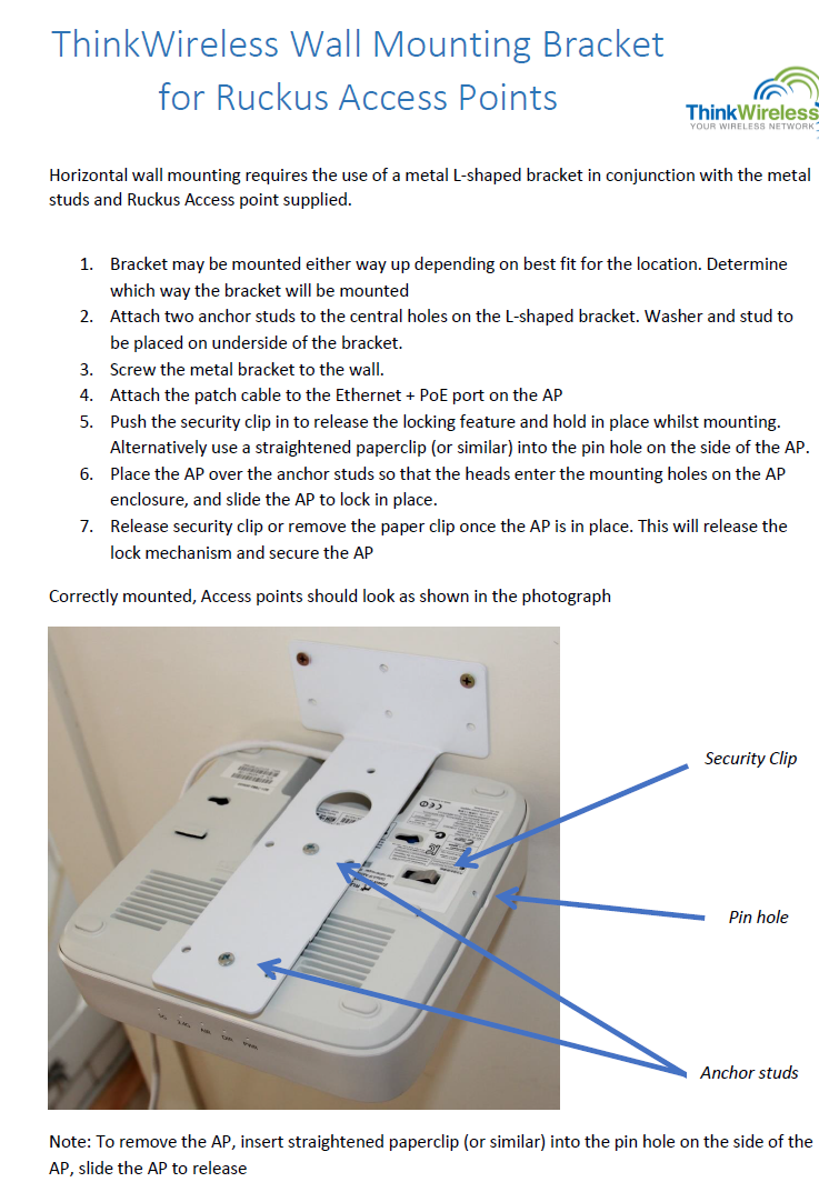 How To Mount Ruckus ZoneFlex 7982 Access Points Using A Wall