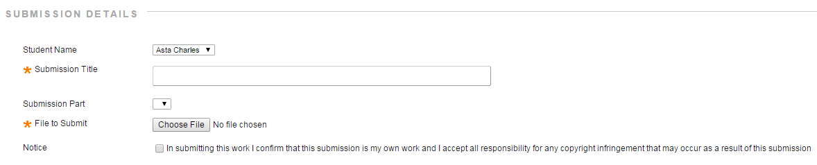 Submission details interface. Submission type and File to submit are marked with asterisks to indicate that they are required.