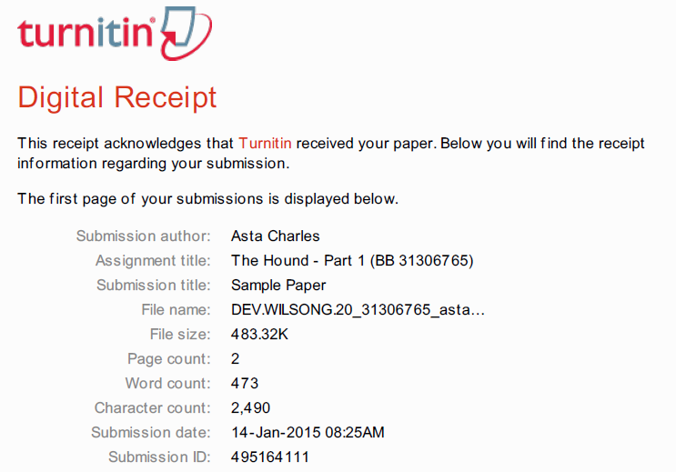 Digital receipt showing submission author, assignment title, submission title, file name, file size, page count, character count, submission date, and submission ID.