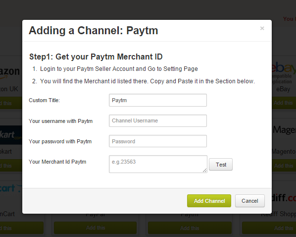 Adding Paytm as a channel  : Browntape Support