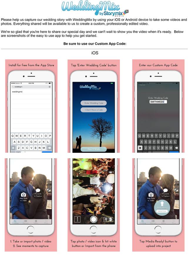 WeddingMix app instructions doc file
