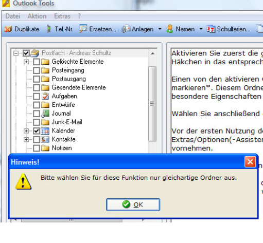 Outlook Tools - falsche Ordnerauswahl