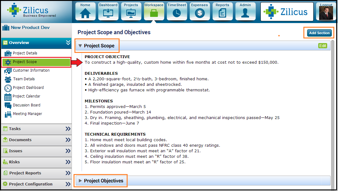 manage project scope using project management tool ZilicusPM 11.1