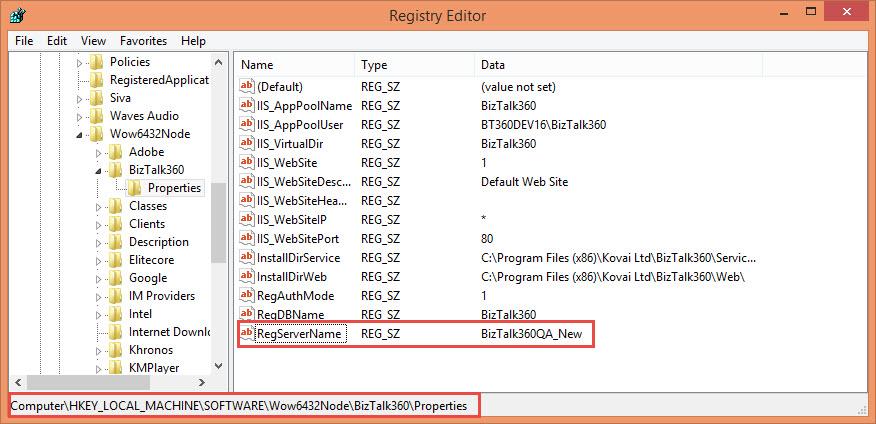 registry editor path