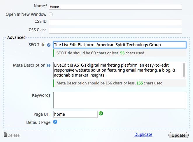 SEO Titles and Meta Descriptions: LiveEdit's Built-In SEO Fields