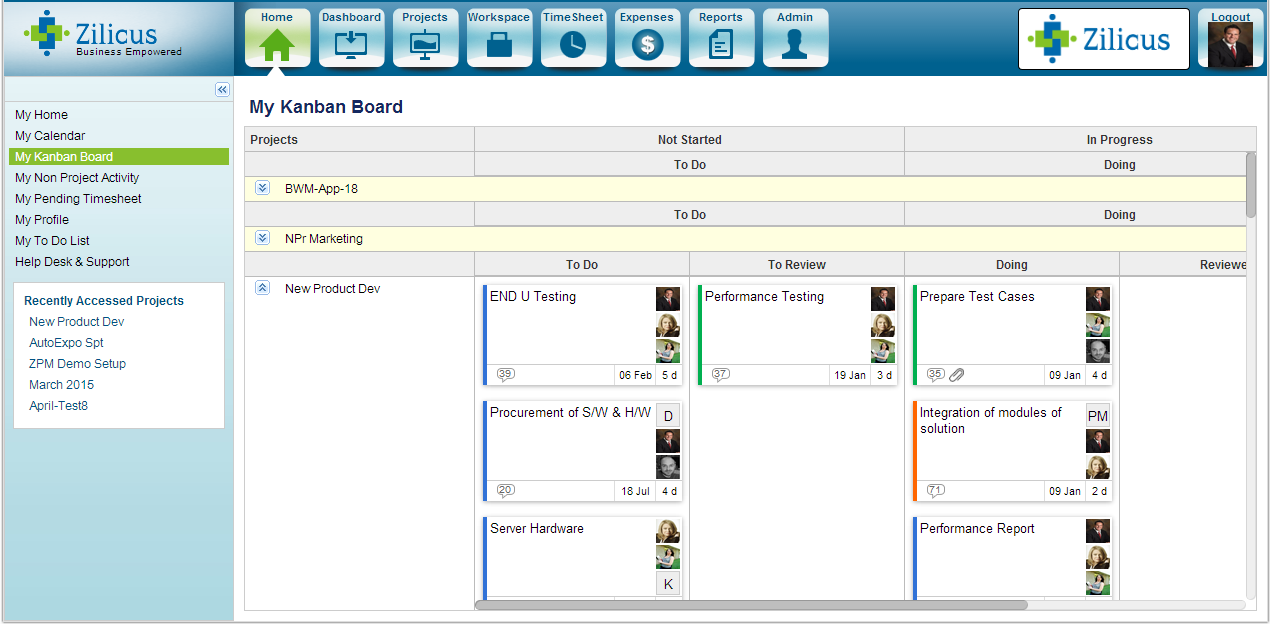 My Kanban Board in Enterprise Project Management Software ZilicusPM