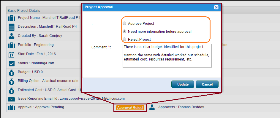project management process - project reviewer reviews project request in ZilicusPM