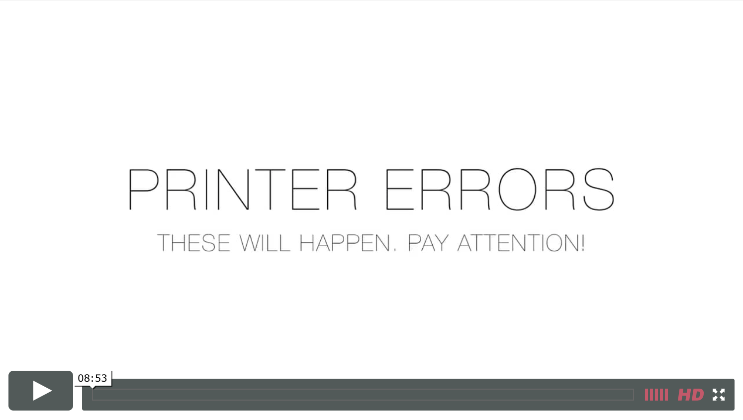 Printer Errors Video