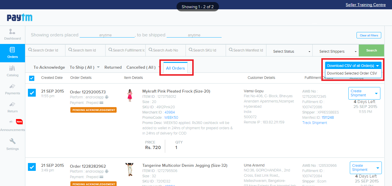 How to manually upload Paytm orders to Browntape : Browntape