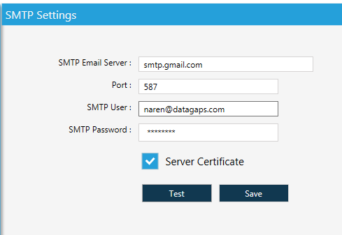 SMTP Settings