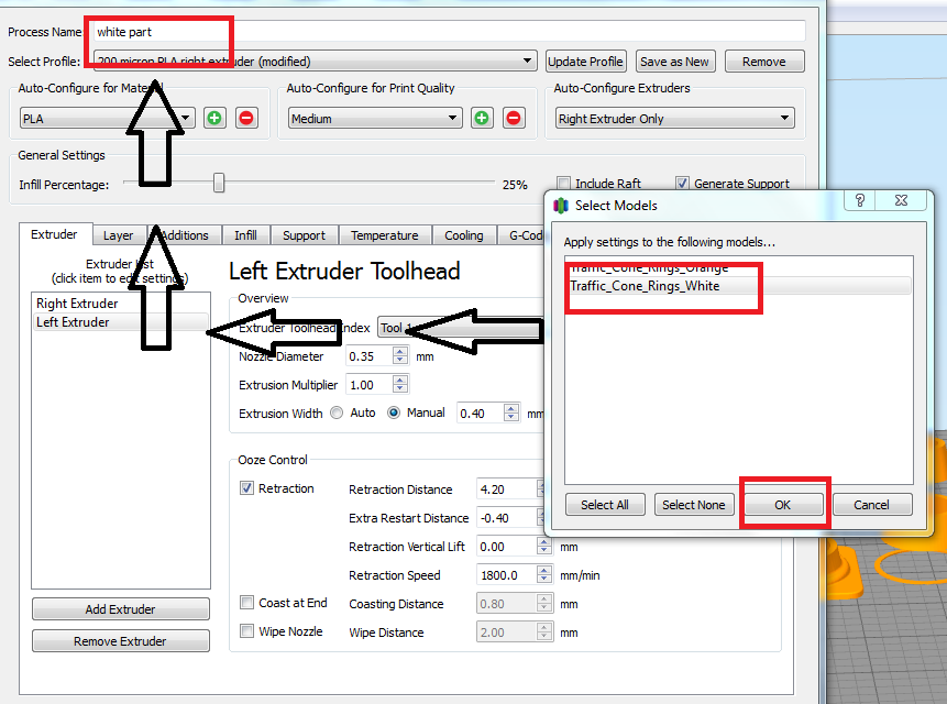 How to Create a Dual Extrusion  GCODE File in Simplify 3D : Leapfrog