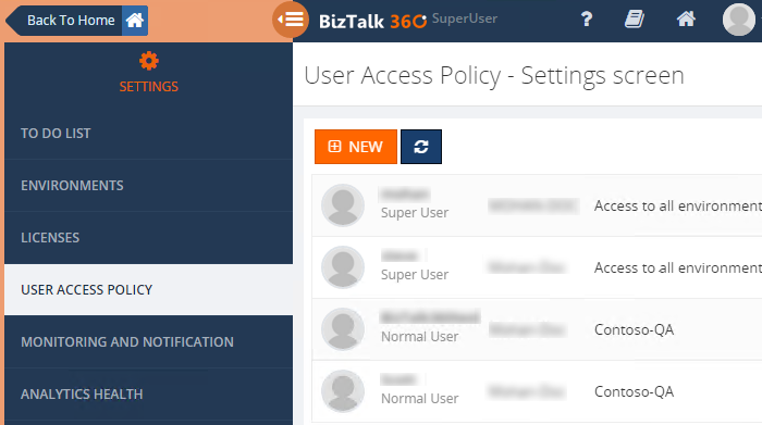 biztalk360 super user access policy