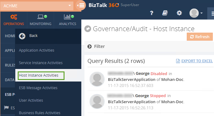 biztalk host instance activities