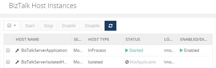 biztalk host instances list