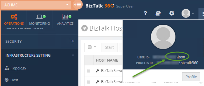 biztalk host instances audit and governance