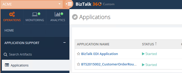 list of applications in the biztalk environment
