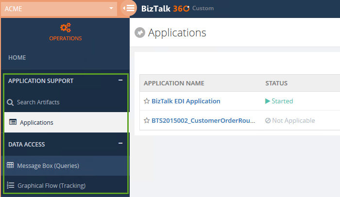biztalk applications list in biztalk360