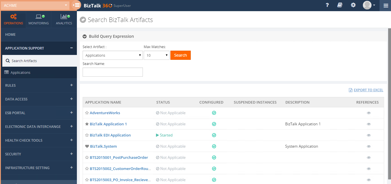 search biztalk artifacts in biztalk360