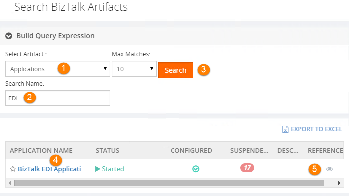 search biztalk artifacts names
