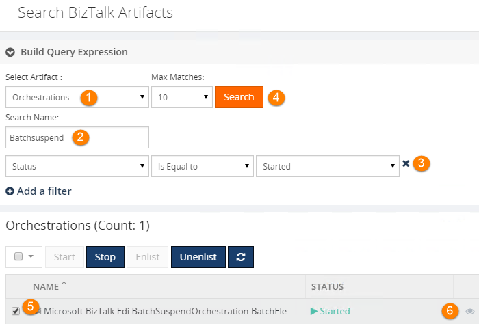 search biztalk artifacts filters