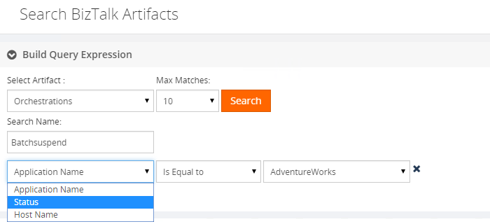 search biztalk artifacts build query expression