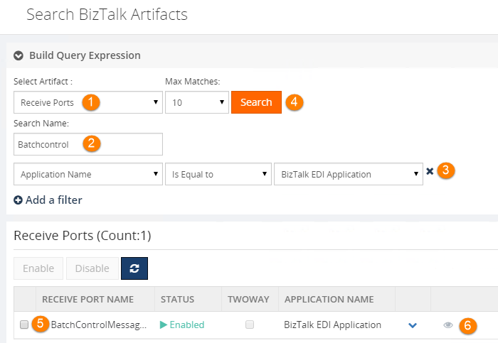 search biztalk artifacts receive ports