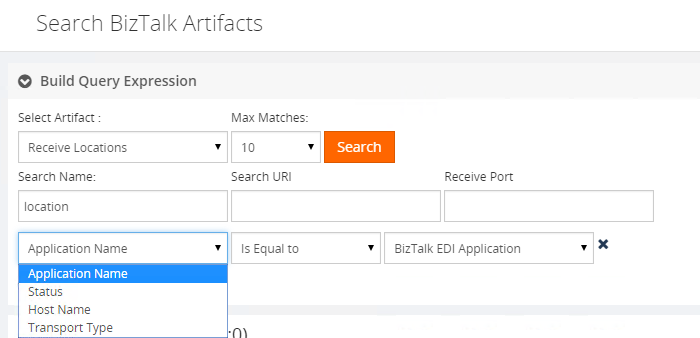 application names in search biztalk artifacts