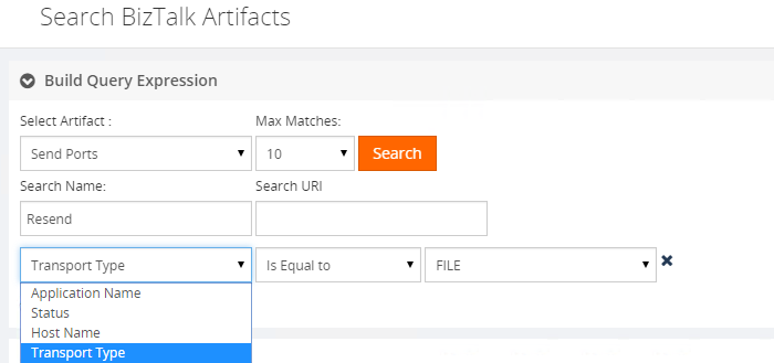 search biztalk artifacts transport type