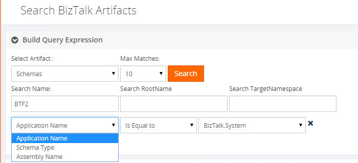 search artifacts in biztalk360 with application names