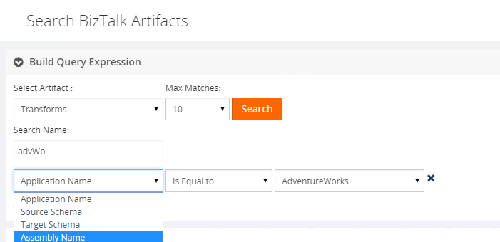 search biztalk artifacts assembly name