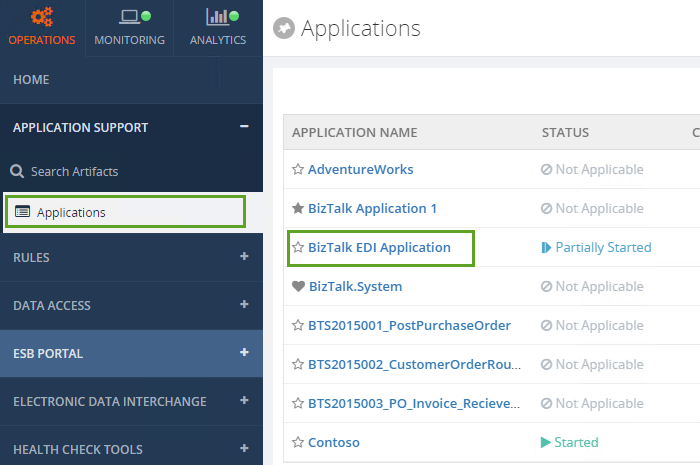 status of an application in biztalk360