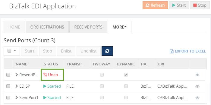 biztalk artifacts send ports status window