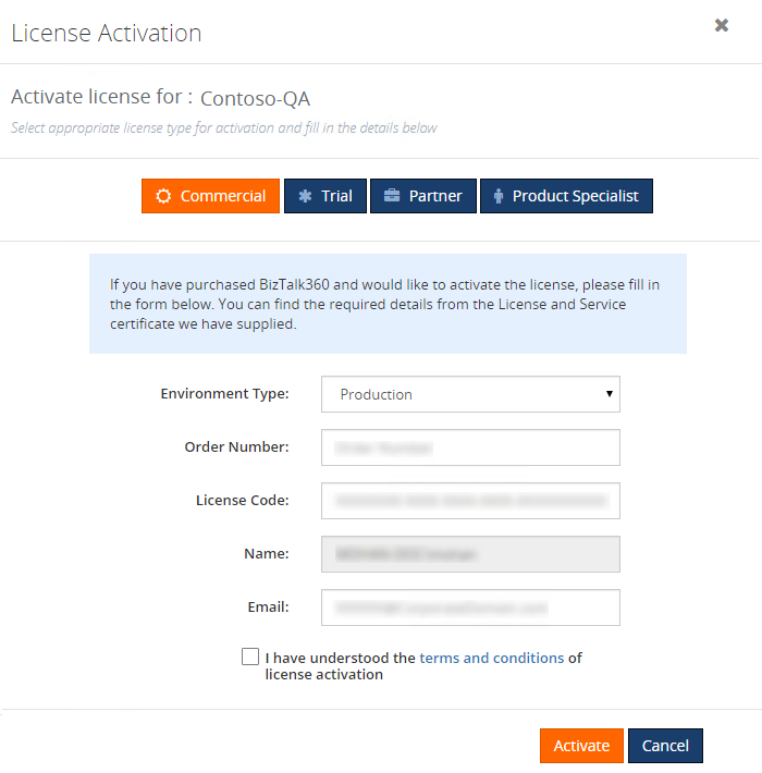 biztalk360 license activation