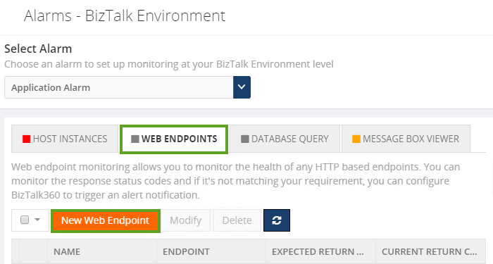 alarms for monitoring web endpoints in biztalk360
