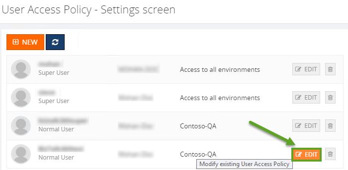 modifying biztalk user access policy settings