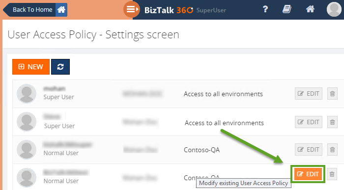 editing an user access policy settings