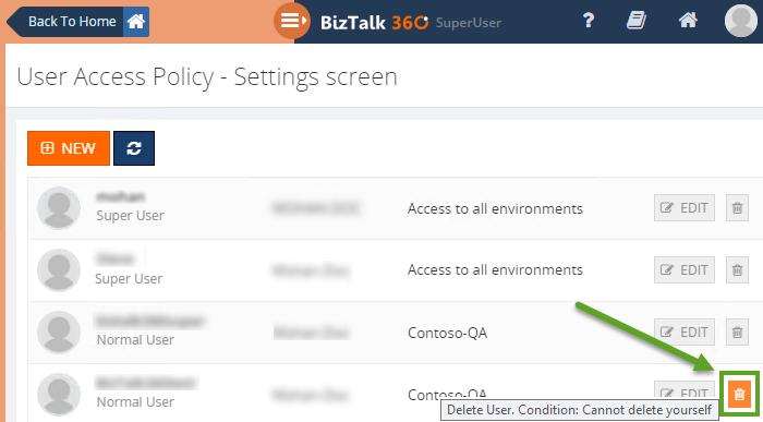 deleting existing user in biztalk360