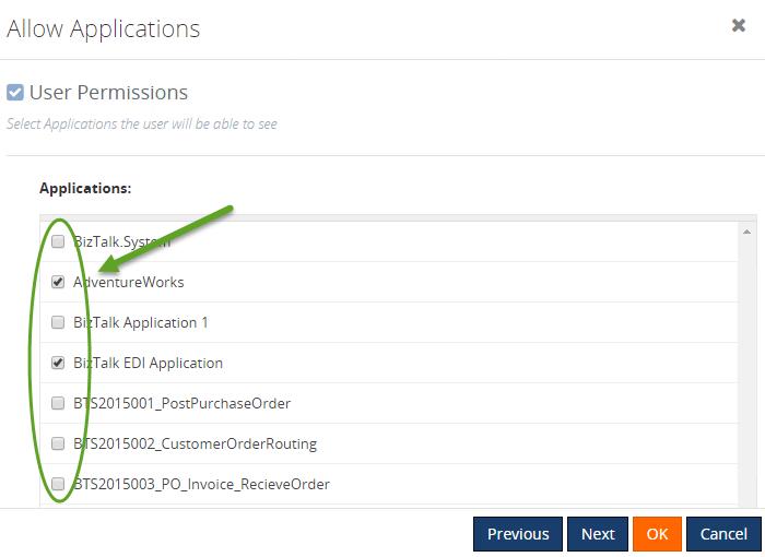 user permissions to access biztalk application
