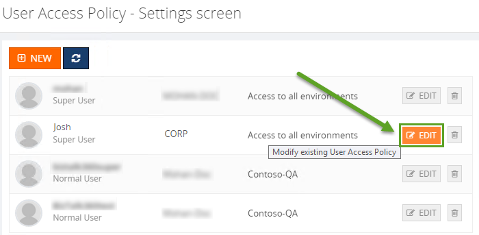 biztalk user access policy settings screen