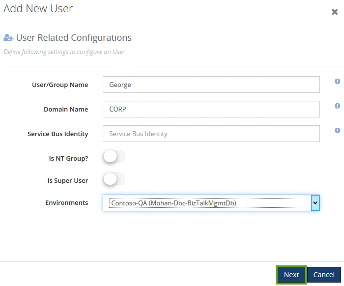 configuring new users with environment details