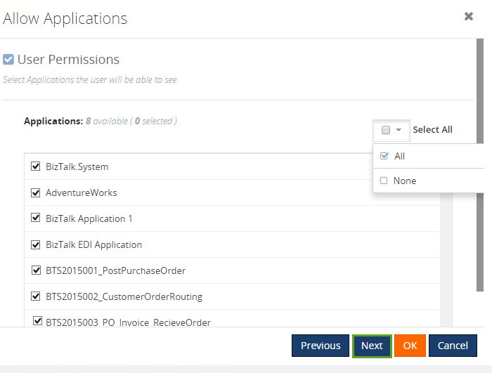 user access permissions to biztalk applications
