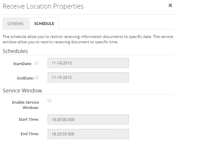 biztalk artifacts receive location schedule properties
