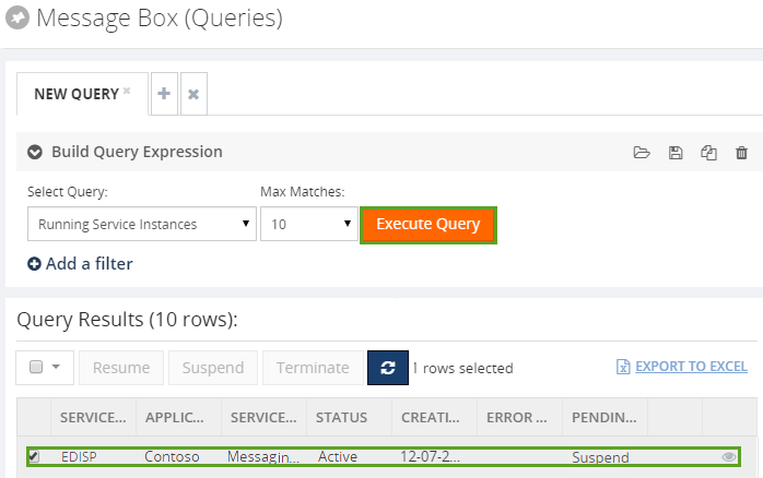 execute running service instances message query