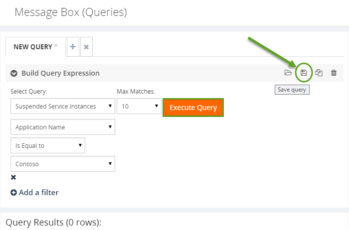 saving the message build query expression