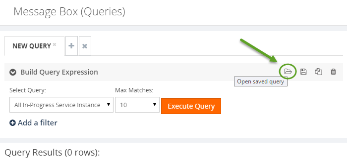 open a saved message build query expression